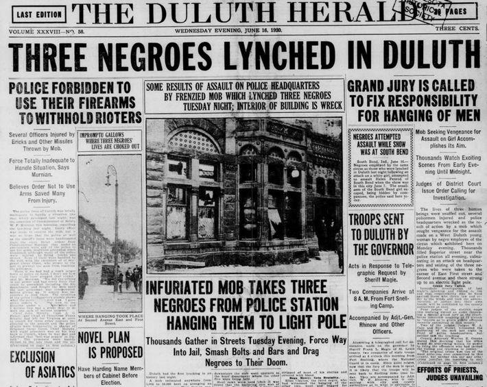 El Duluth Herald informó sobre los horrores del linchamiento de tres hombres negros el 15 de ...