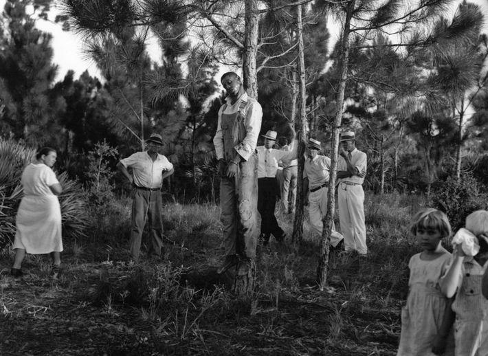 El cuerpo de Rubin Stacy, de 32 años, cuelga de un árbol en Fort Lauderdale, Florida, ...
