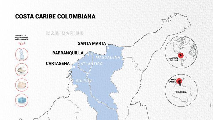 Mapa ilustrado aportado por el fotógrafo documental Charlie Cordero que muestra las zonas retratadas en su ...