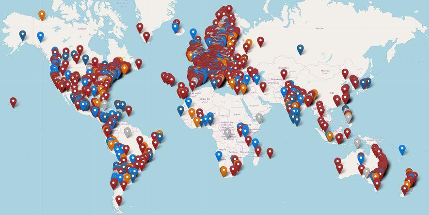 Mapa con información de todas las marchas que se estarán realizando en el mundo. Los puntos ...