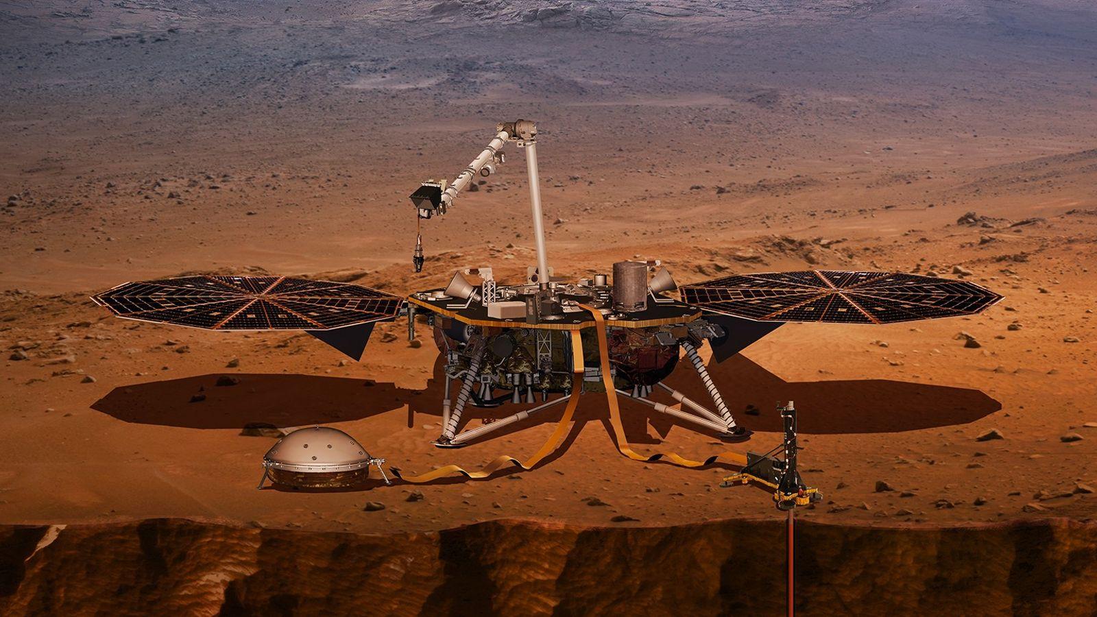 Una impresión artística del módulo de aterrizaje InSight de la NASA en Marte. La agencia espacial ...