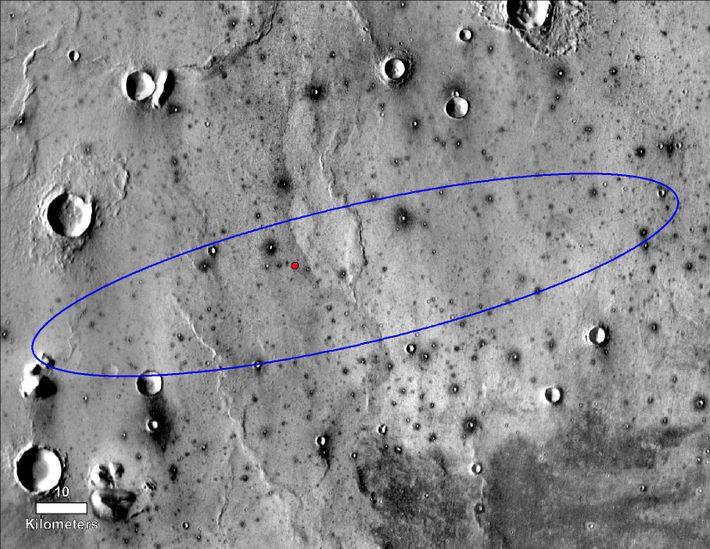 El punto rojo marca el lugar final de aterrizaje del módulo de aterrizaje InSight de la ...