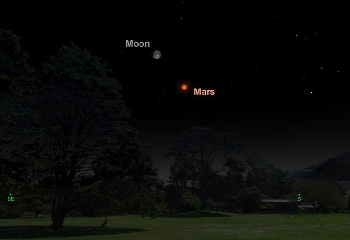 La Luna llena y Marte estarán separados por solo cinco grados el 27 de julio.