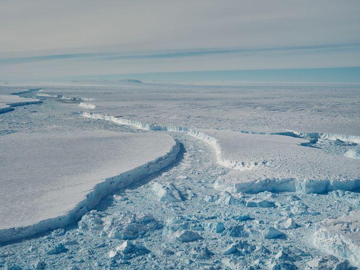 Varias partes del B-46 flotan frente a la plataforma de hielo del Pine Island. A los ...