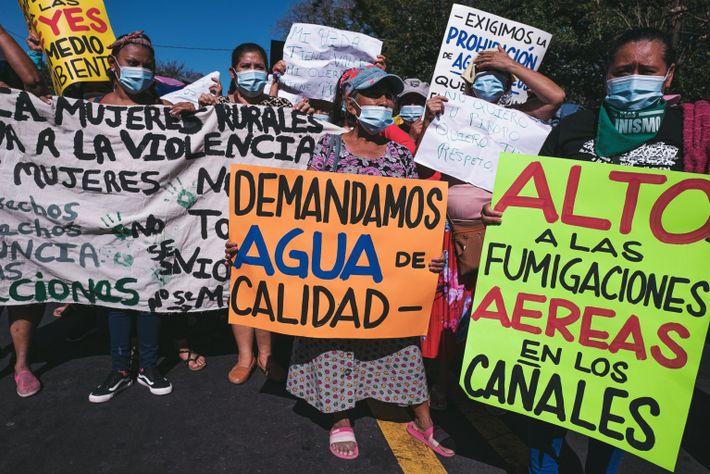 En El Salvador, en la marcha por el Día Internacional de la Mujer, una protestante llevaba ...