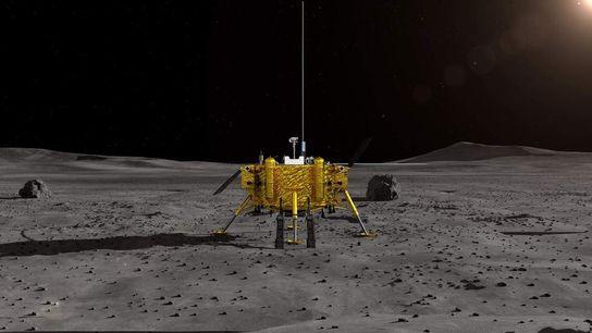 Representación artística de la Administración Nacional del Espacio de China (ANEC) de la sonda lunar Chang'e-4. ...