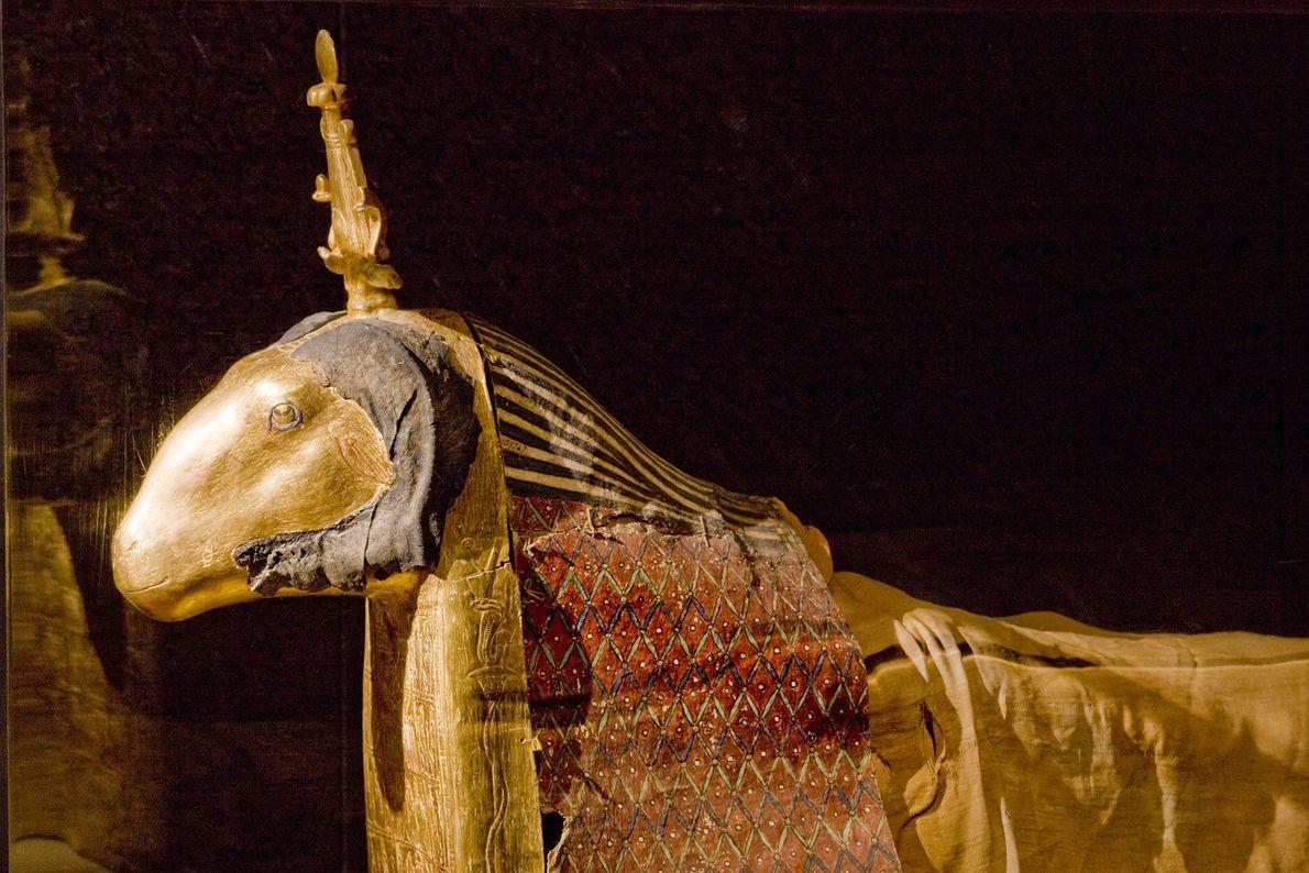 Esta carcasa con detalles de oro y pintados contiene un carnero sagrado. Como encarnación viva del ...