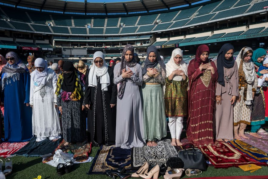 About 20,000 Muslims attended a morning prayer last year at Angel Stadium in Anaheim, California, to ...