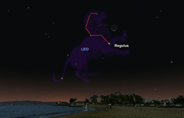 Busca la brillante estrella Regulus cerca de la luna el 5 de octubre.