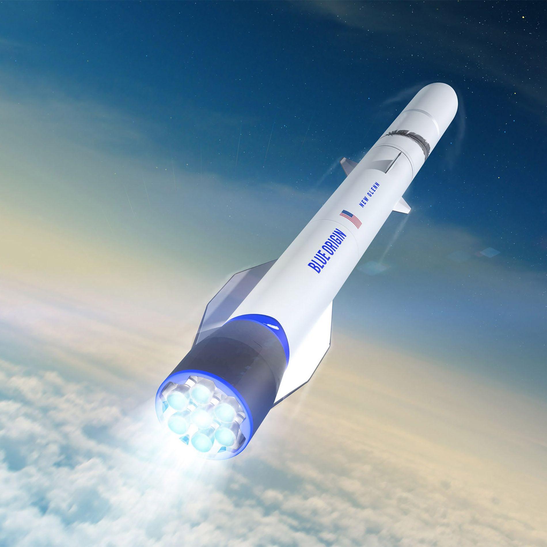 Una ilustración muestra el cohete New Glenn, el vehículo orbital de Blue Origin.