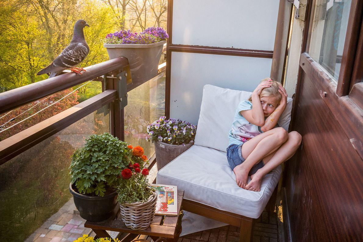 Merel Doest se agacha para cubrirse después de que Dollie, una paloma, pasó volando junto a ...