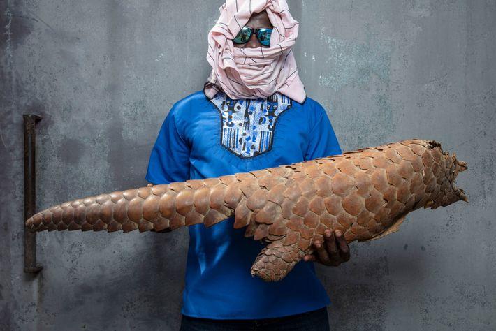 Un funcionario encargado de la aplicación de la ley en Costa de Marfil, enmascarado para proteger ...