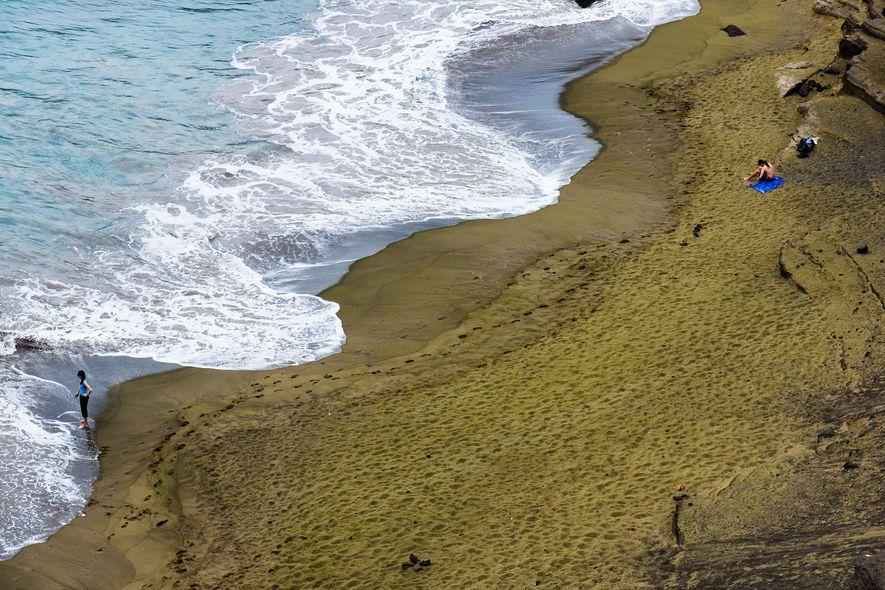 Papakōlea Beach, Hawái.