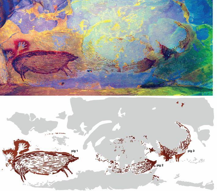 El arte rupestre puede representar una escena con varios cerdos interactuando. Pero la erosión arrasó con ...