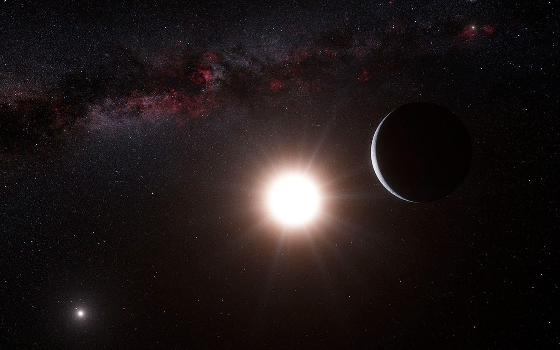 La impresión ahora obsoleta de este artista muestra el supuesto planeta Alfa Centauri Bb (derecha) con dos de las estrellas del sistema de tres estrellas Alfa Centauri (centro e izquierda).