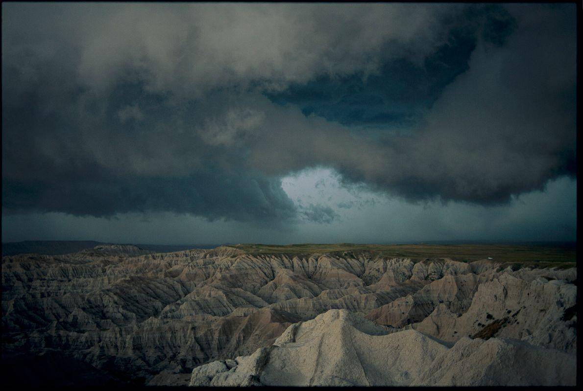 Tormenta en el Parque Nacional Badlands