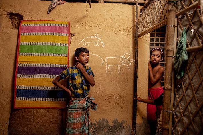 Mohammed Riaz, de 13 años, está parado junto a un dibujo de elefantes que hizo en ...
