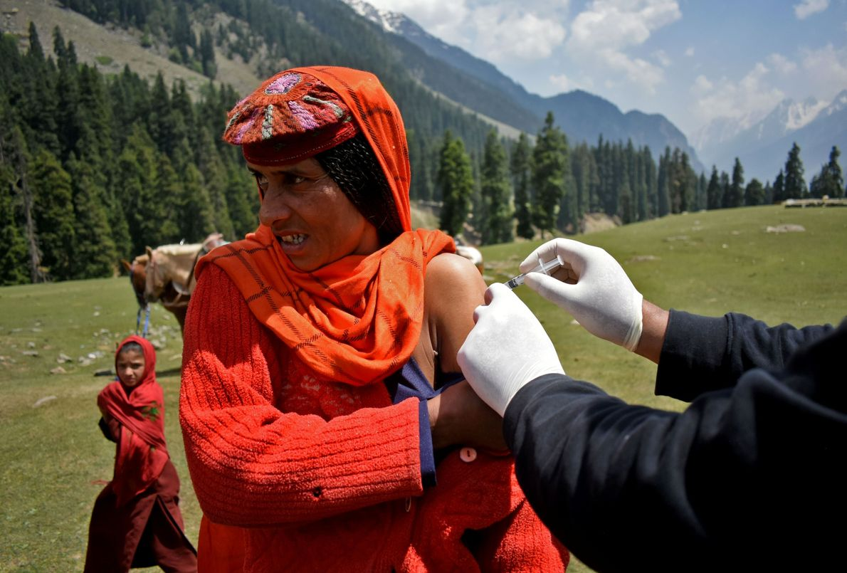 Vaccination drive at Lidderwat near scenic Pahalgam