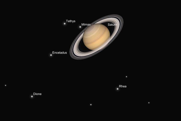 Una ilustración muestra cómo se debería ver Saturno y sus satélites a través de un telescopio ...