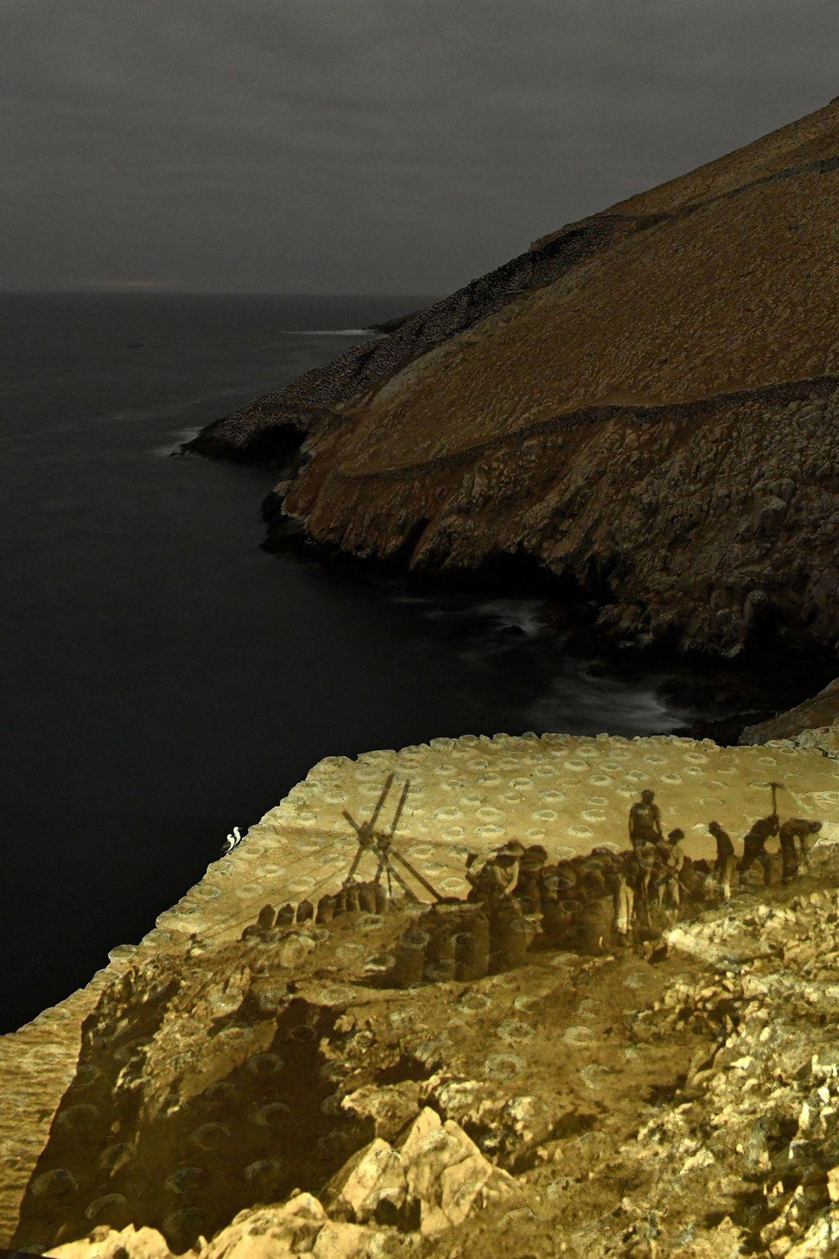 Se proyecta una escena antigua de trabajadores que trabajan cerca de la costa en nidos de ...