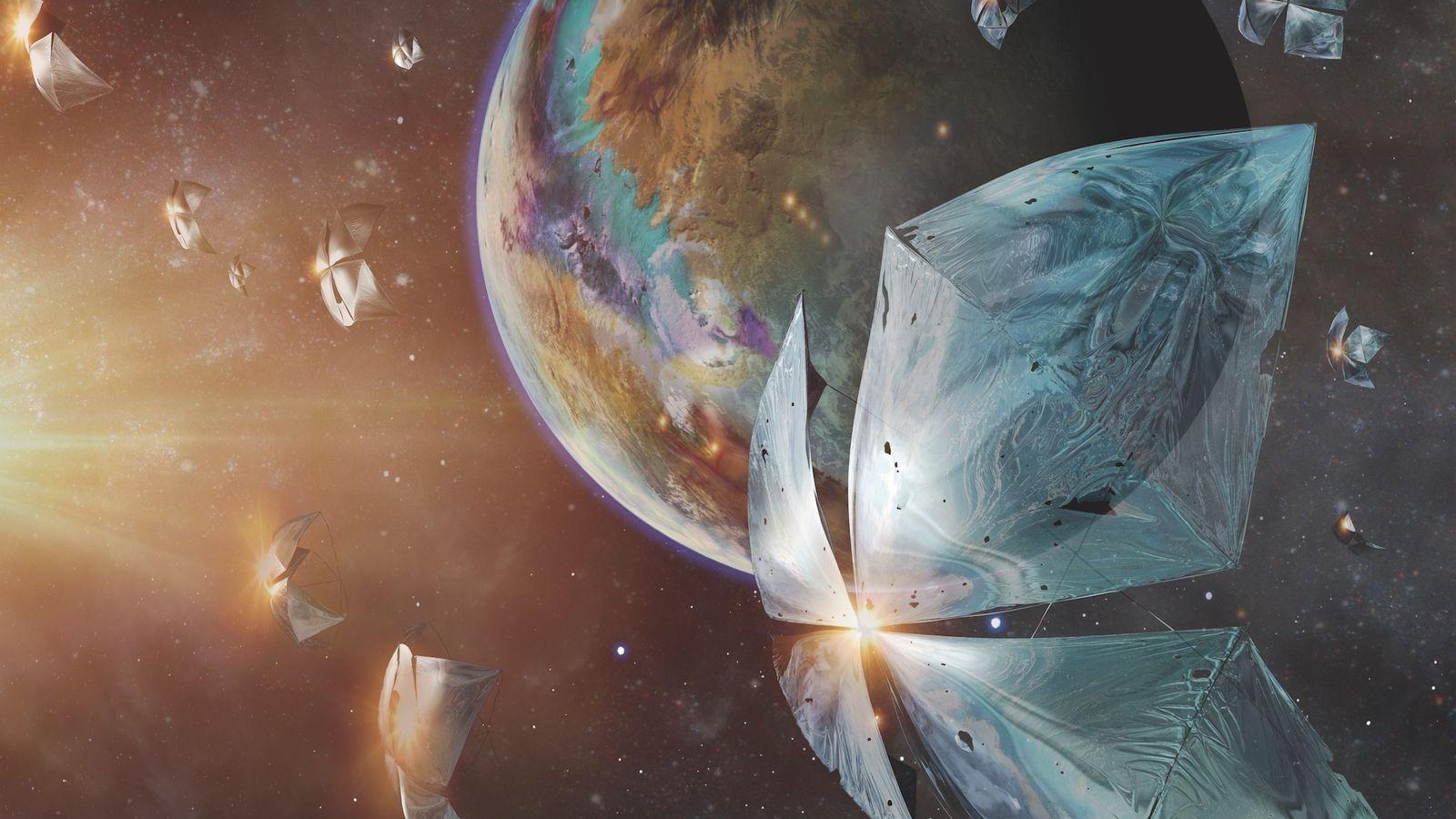 Velocidad mínima de la nave espacial hacia el planeta Proxima Centauri b en una ilustración de ...