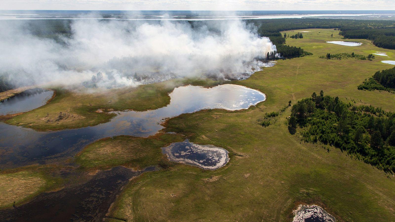 Un bosque arde en la zona central de Sajá-Yakutia, una de las regiones más frías de ...