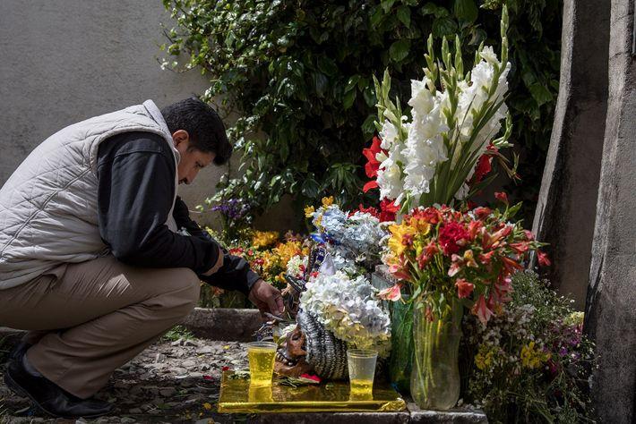 Un hombre coloca un cigarrillo en la boca de una ñatita en el Cementerio General de ...