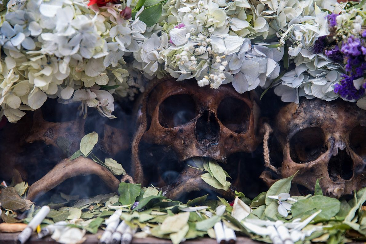 Ofrendas de hojas de coca, flores y cigarrillos demuestran gratitud por las ñatitas, cuya traducción aproximada ...