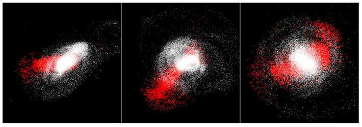 La Vía Láctea (blanca) engulle a la galaxia enana Gaia-Enceladus (roja) en escenas de una simulación ...
