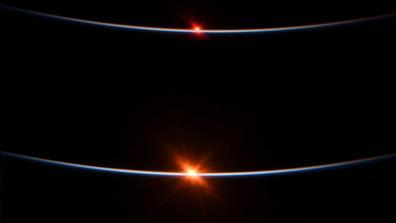 Behnken capturó el amanecer desde la EEI el 27 de julio en esta secuencia de cuatro ...