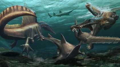 El extraño Spinosaurus hace historia como el primer dinosaurio acuático conocido