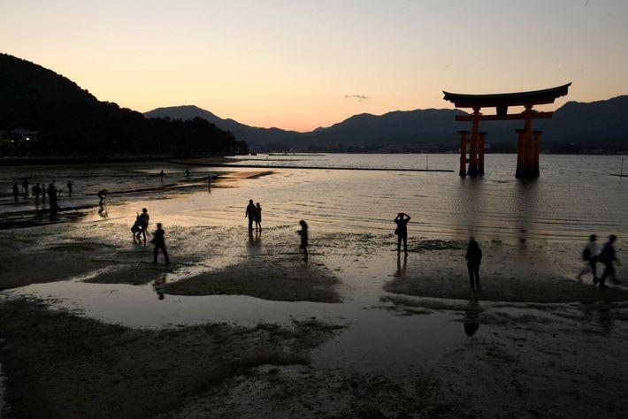 El santuario de Itsukushima, conocido como el santuario flotante, se encuentra en Miyajima y es Patrimonio ...