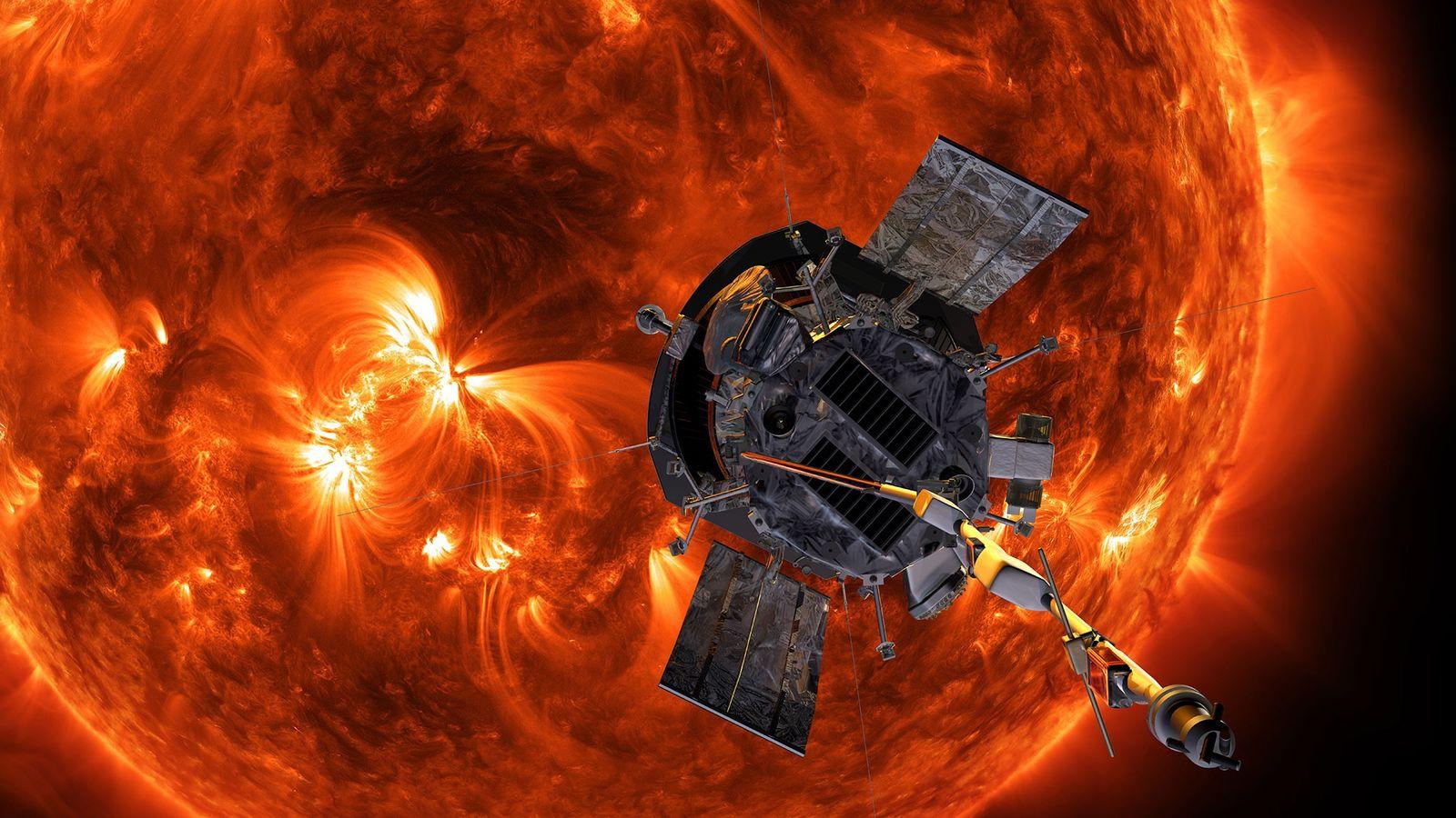 Un dibujo ilustrativo muestra la sonda solar Parker de la NASA acercándose al Sol.