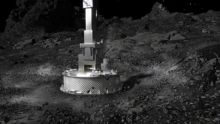 El cabezal de toma de muestras de la sonda OSIRIS-REx funciona como una aspiradora a la inversa ...
