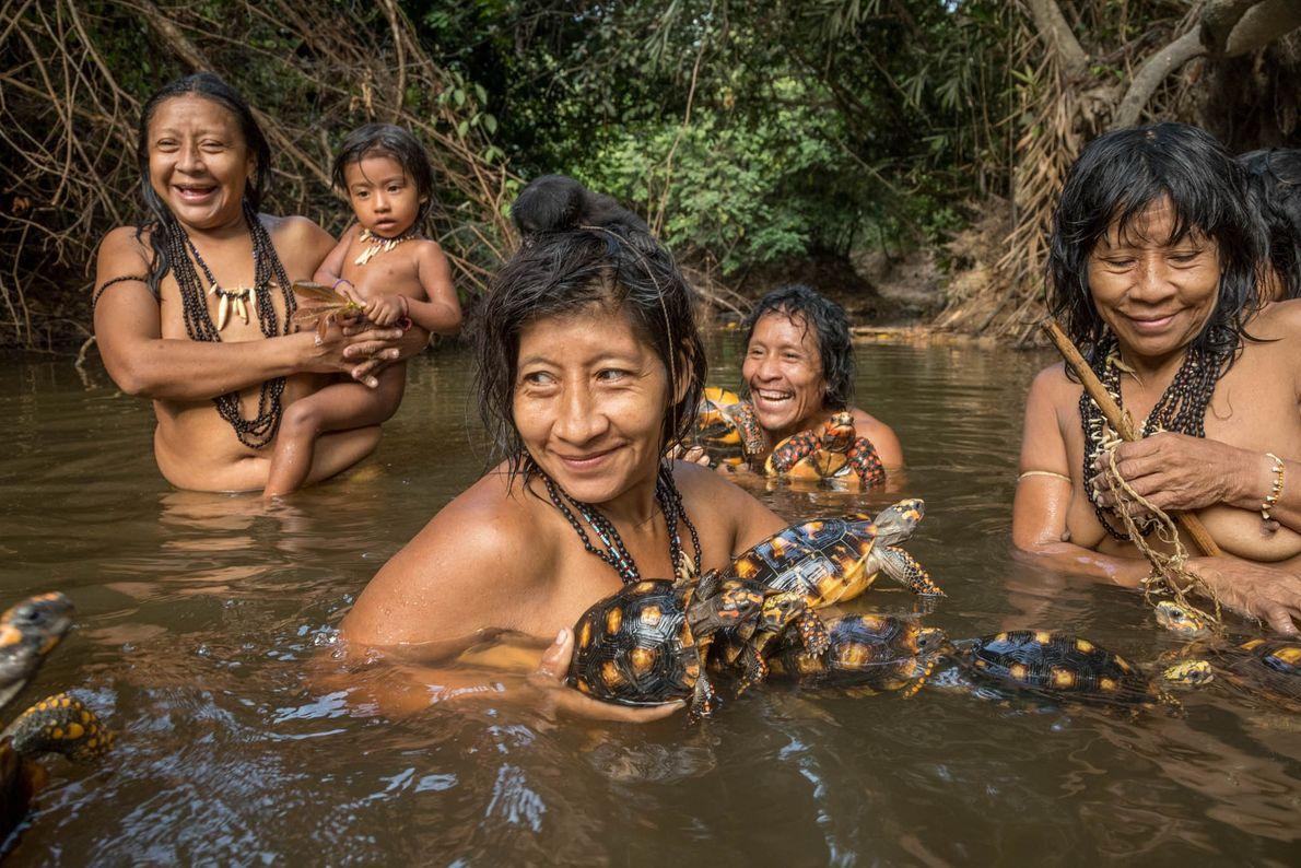En Posto Awá, estas aldeanas disfrutan de un baño matutino. Las tortugas de patas rojas y amarillas ...
