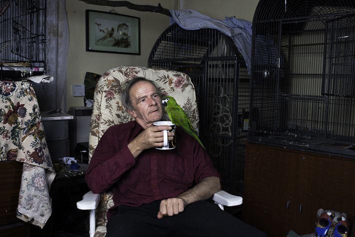 Michael descansa en su sala de estar con una taza de té y un guacamayo noble ...
