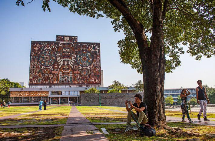 """El mural """"Representación histórica de la cultura"""" de Juan O'Gorman en la fachada de la biblioteca, ..."""