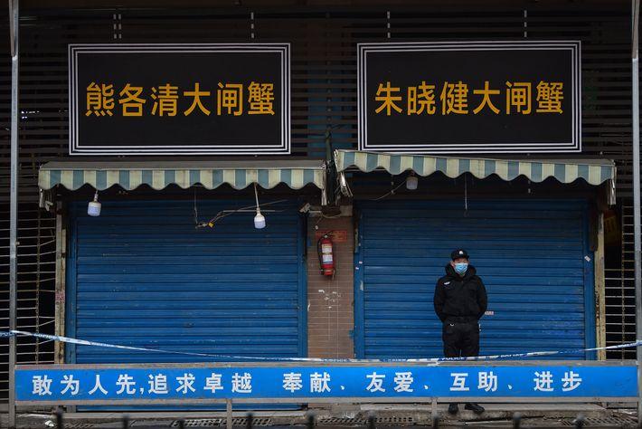 El Mercado mayorista de peces y mariscos de Huanan, el cual es señalado por las autoridades ...