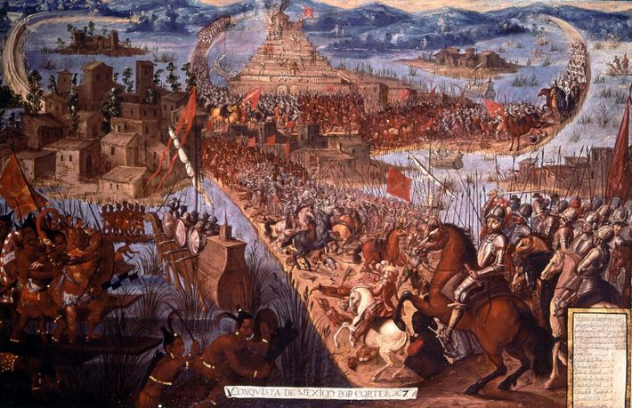 The Conquest of Tenochtitlan, unknown artist, from The Conquistadors by Hammond Innes, page 142. The painting ...